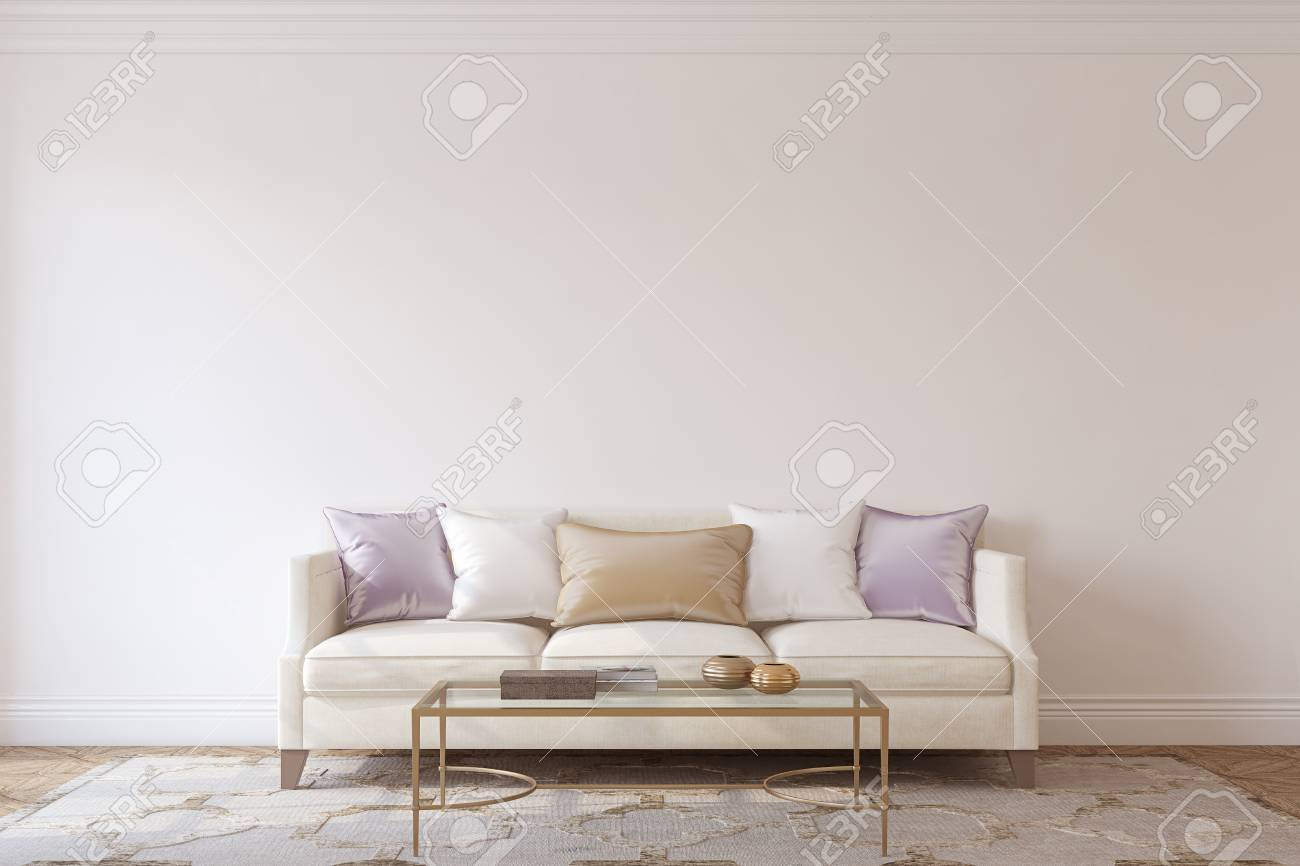 Living-room interior in neoclassic style. Interior mockup. 3d render. - 114933635