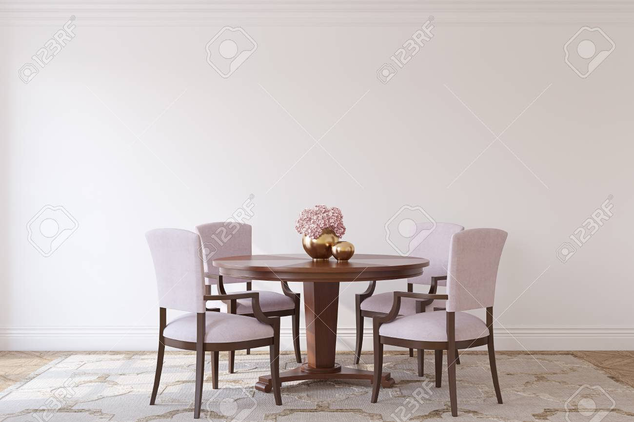 Dining-room in neoclassic style. Interior mockup. 3d render. - 114933638