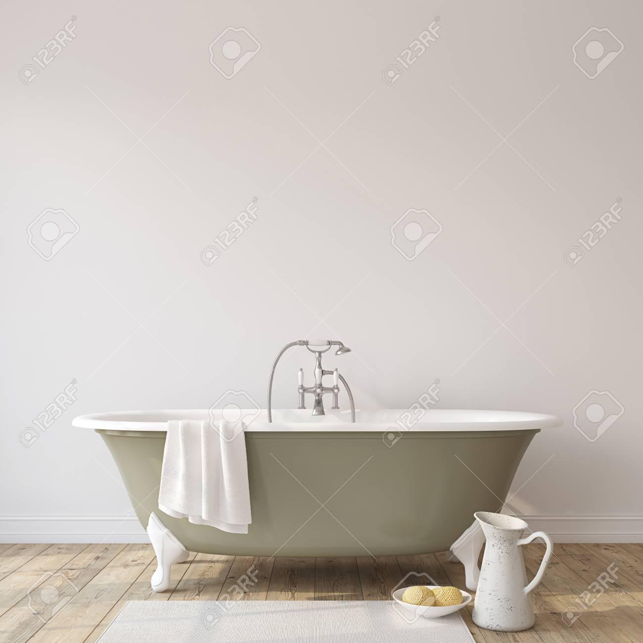 Romance bathroom. Interior mock-up. 3d render. - 118411772
