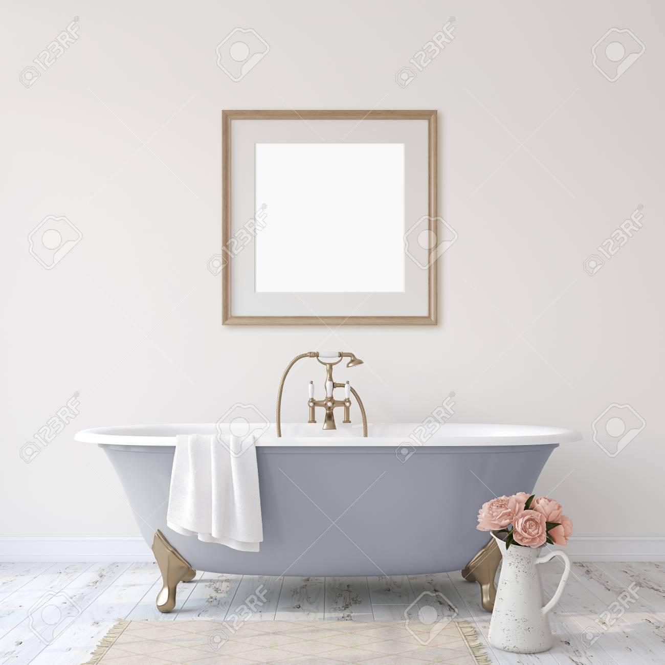 Romance bathroom. Interior and frame mock-up. 3d render. - 118411775