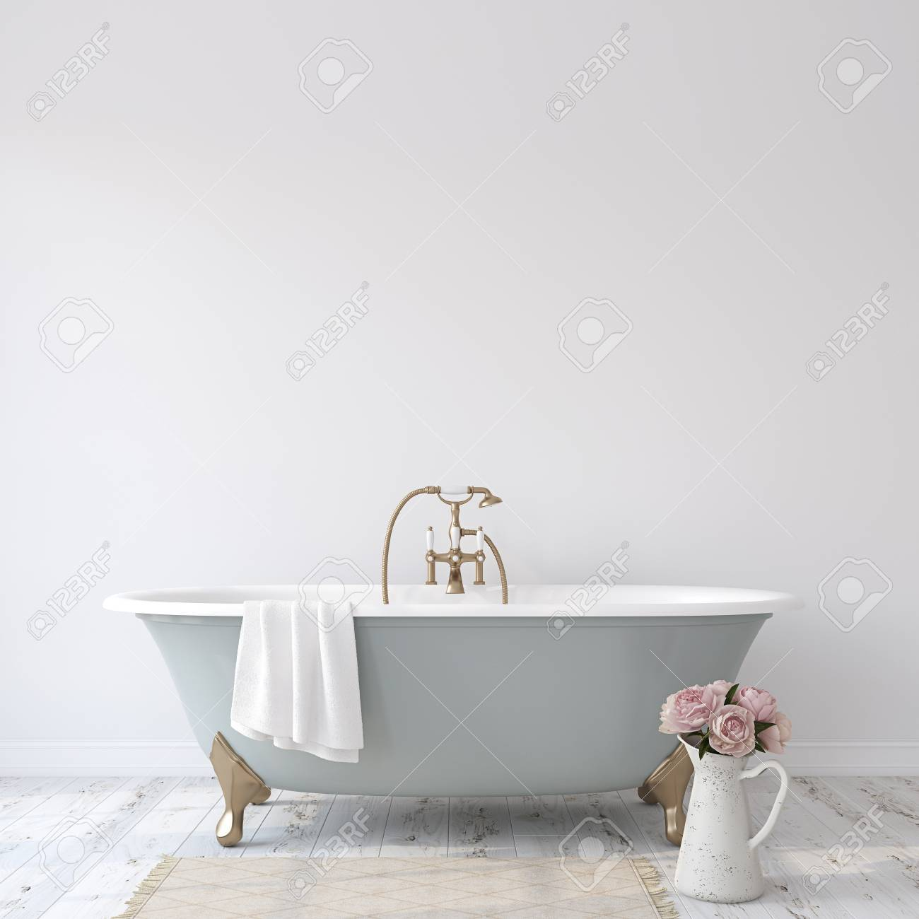 Romance bathroom. Interior mock-up. 3d render. - 118411776