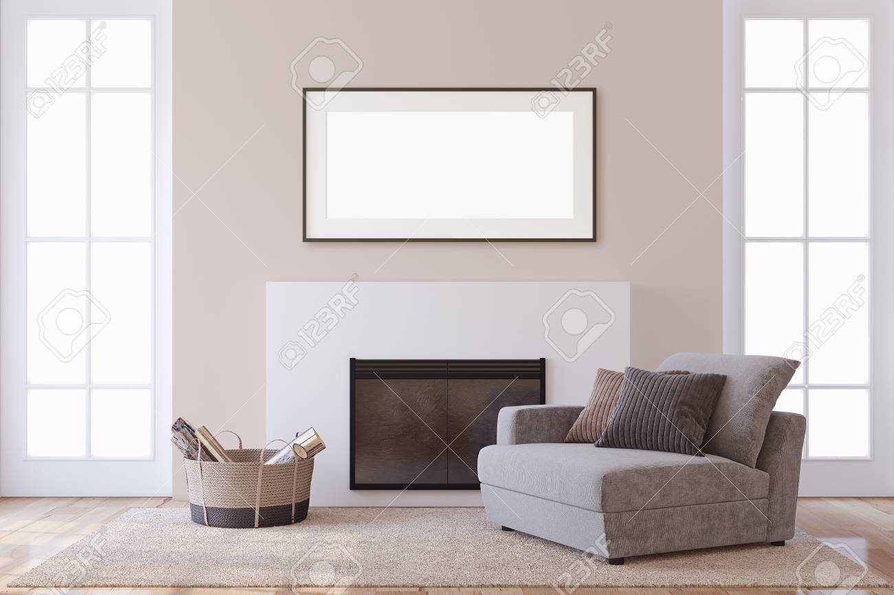 Interior and frame mockup. Modern fireplace with armchair. 3d rendering. - 118411780