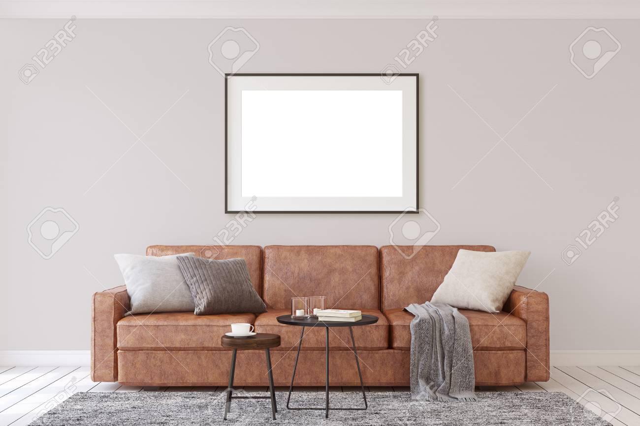 Interior and frame mockup. Modern living-room. 3d rendering. - 118411783