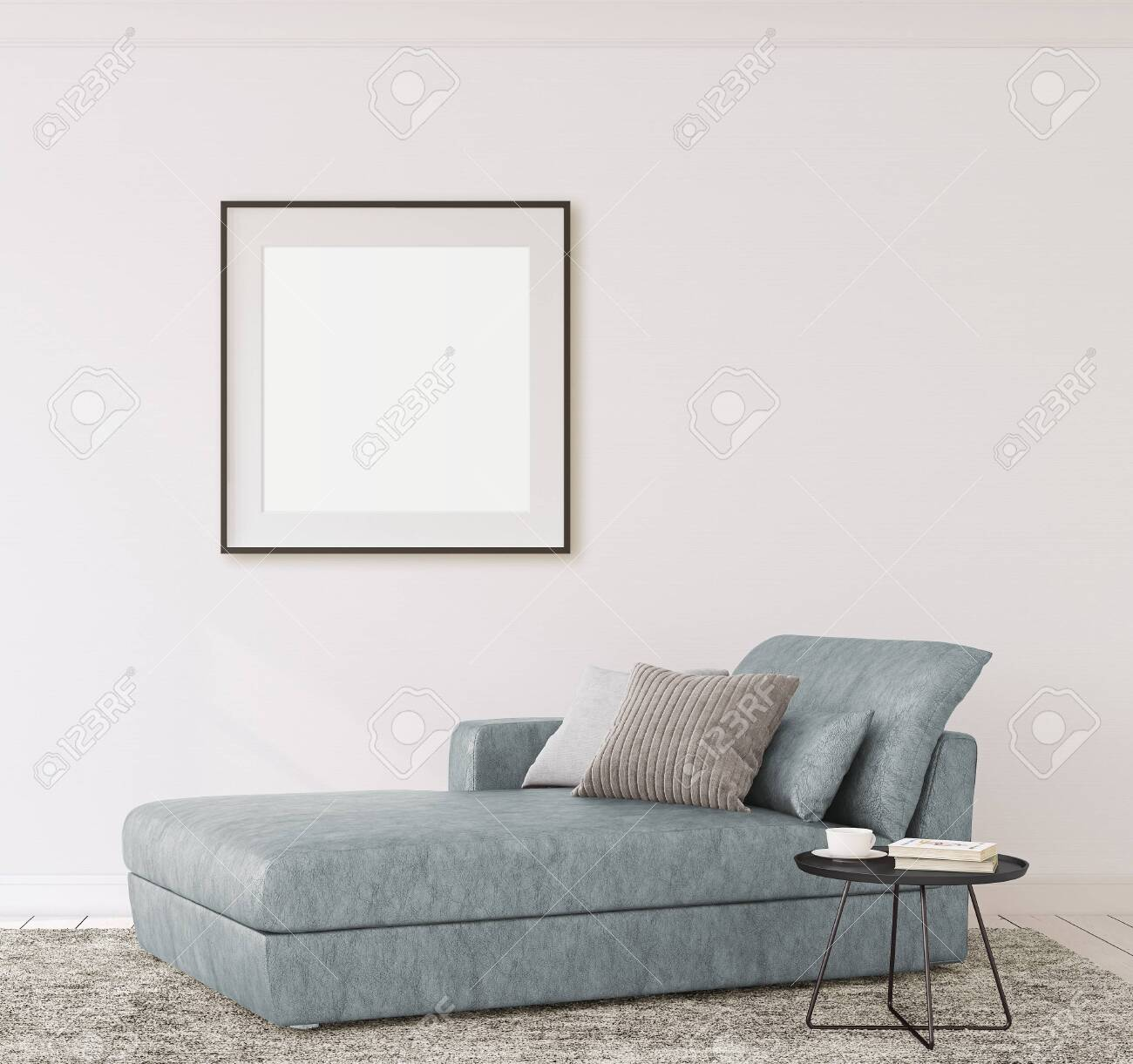 Interior and frame mockup. Modern couch near empty white wall. 3d render. - 118411784