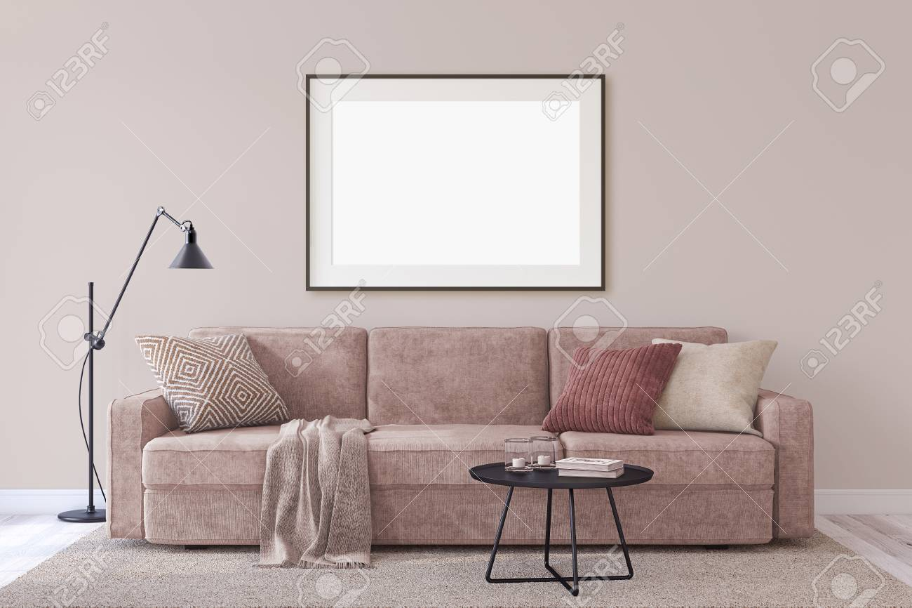 Interior and frame mockup. Modern couch near empty wall. 3d render. - 118411785