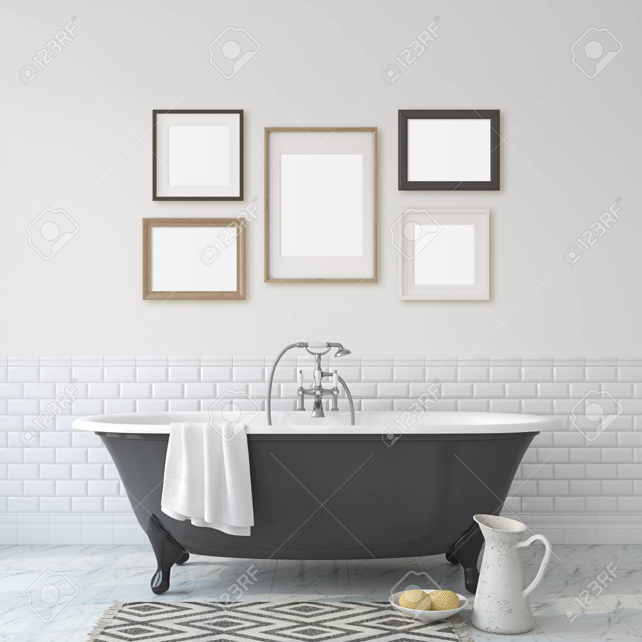 Romance Bathroom Black Bathroom Near White Wall Five Different Stock Photo Picture And Royalty Free Image Image 118411788