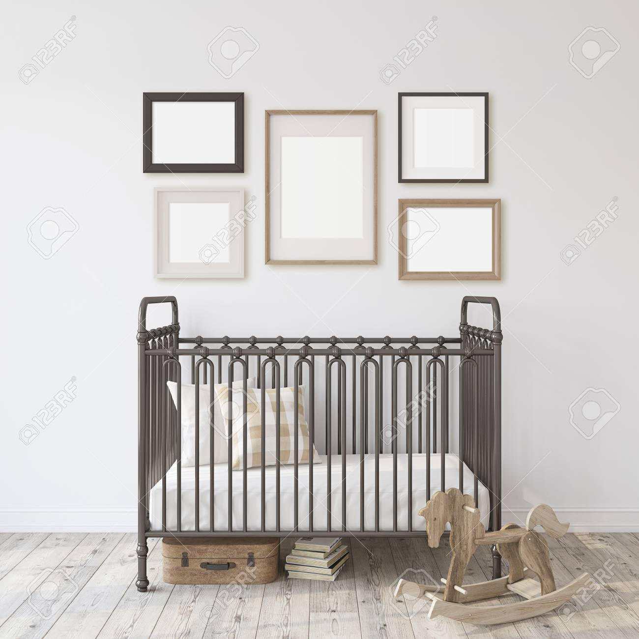 Farmhouse nursery. Black metal crib near white wall. Five different frames on the wall. Interior and frame mockup. 3d rendering. - 118411790