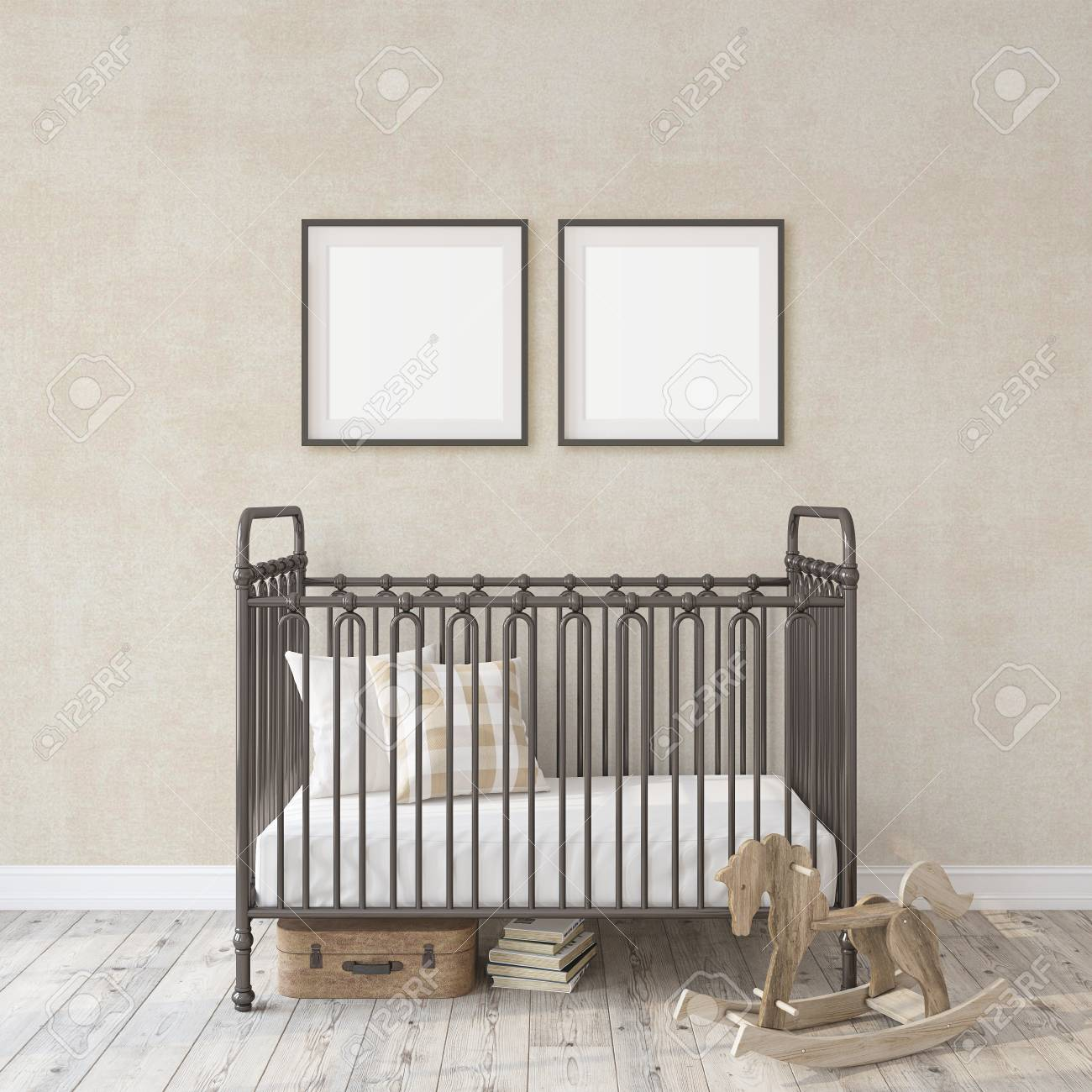Farmhouse nursery. Black metal crib near white wall. Two black frames on the wall. Interior and frame mockup. 3d rendering. - 118411791