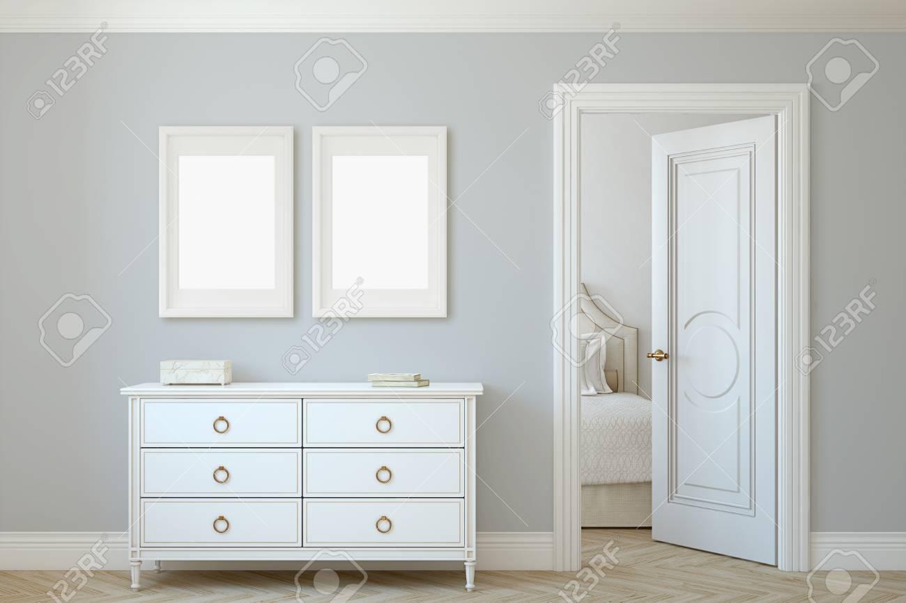 Modern hallway. White dresser near gray wall. Frame mockup. Two white frames on the wall. 3d render. - 118411807