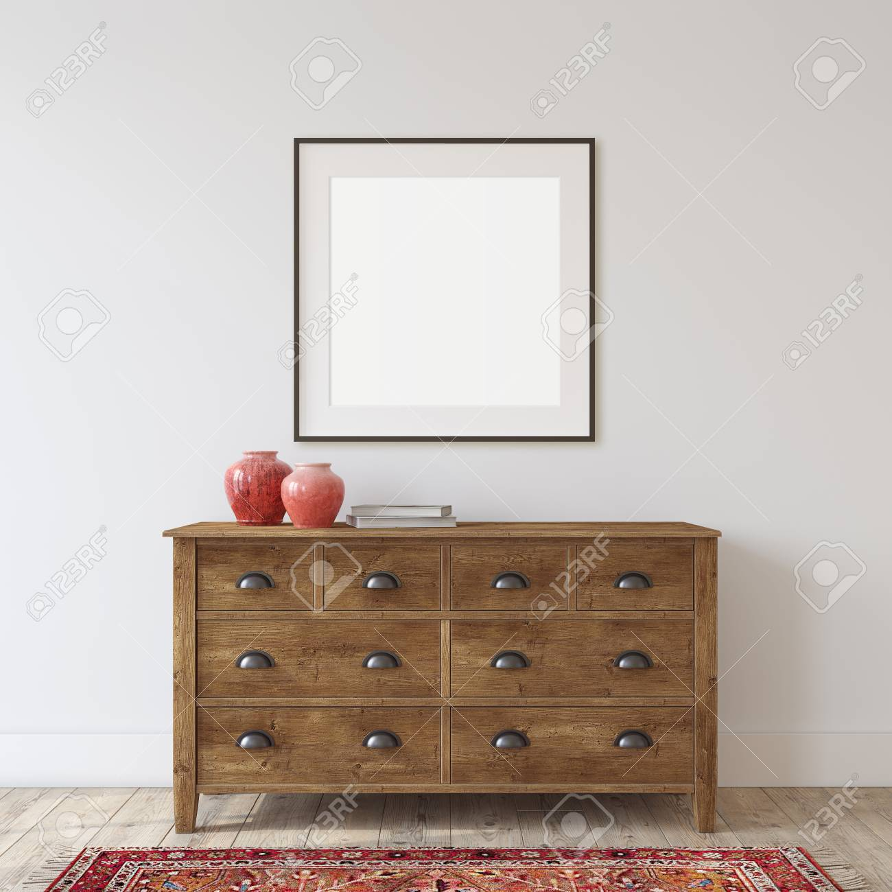 Farmhouse entryway. Wooden dresser near white wall. Frame mockup. Black square frame on the wall. 3d render. - 118411810