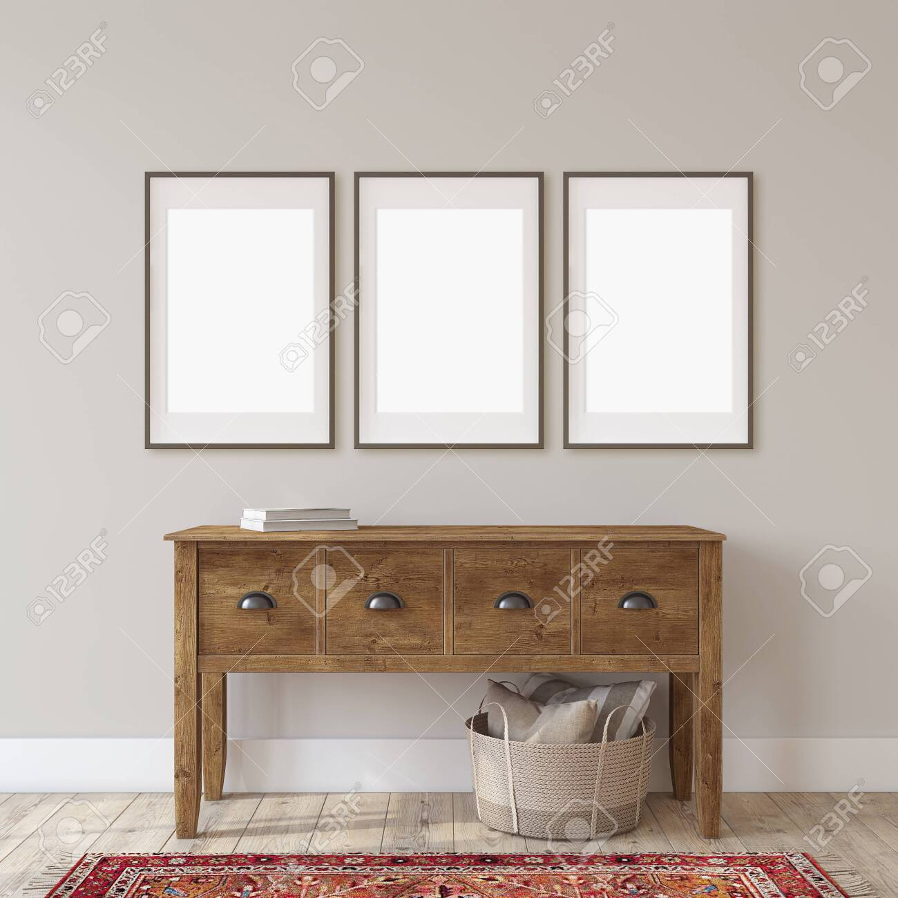 Farmhouse entryway. Wooden console table near gray wall. Frame mockup. Three black frames on the wall. 3d render. - 118411817