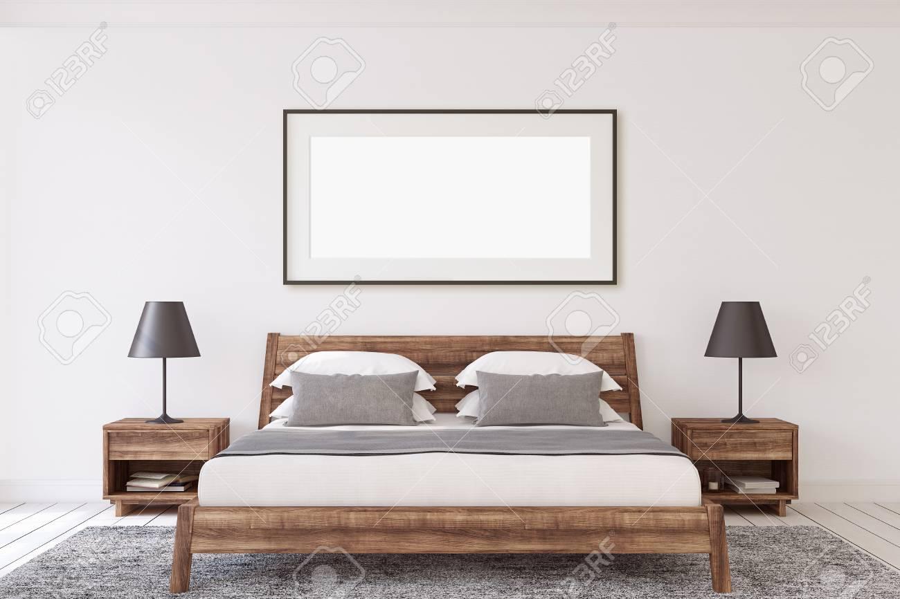 Interior ang frame mockup. Wooden modern bedroom. Black frame on the white wall. 3d render. - 118411818