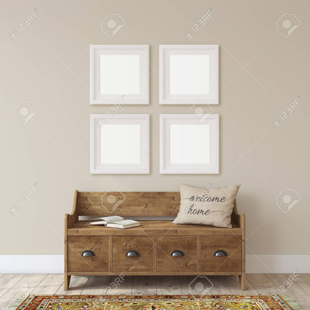 Farmhouse entryway. Wooden bench near white wall. Frame mockup. Four white square frames on the wall. 3d render. - 118411821