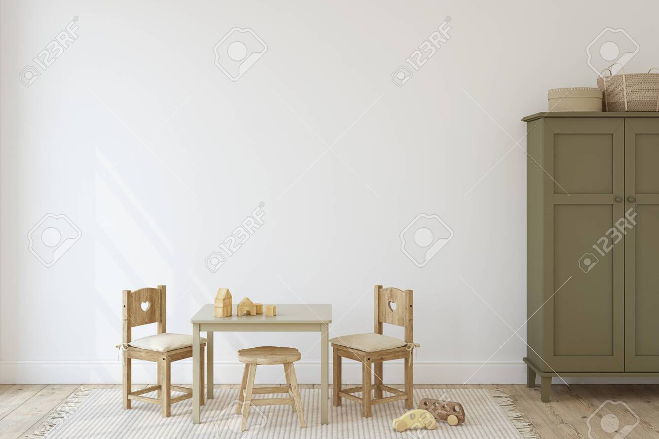 Playroom with kid's table and chairs. Interior mockup. 3d render. - 120568882