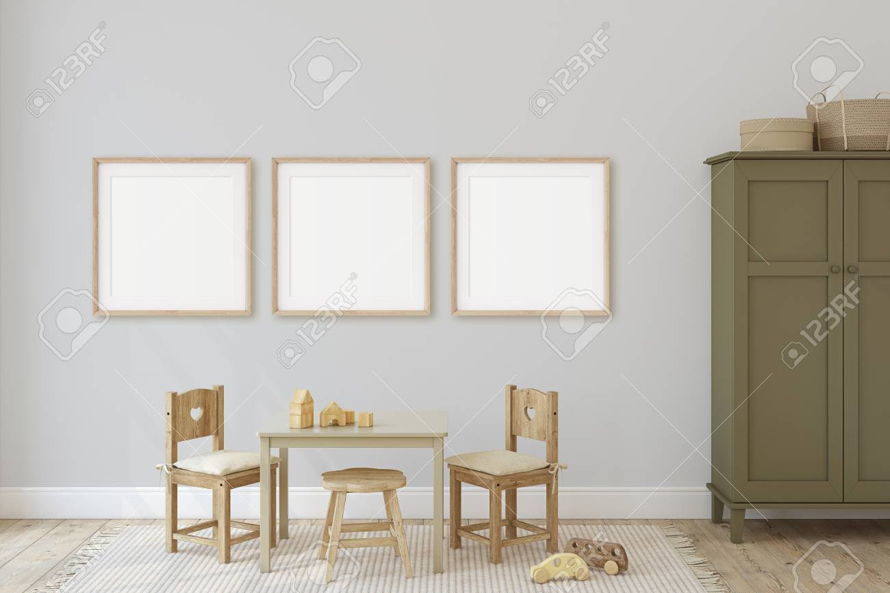 Playroom with kid's table and chairs. Interior and frame mockup. 3d render. - 120568884