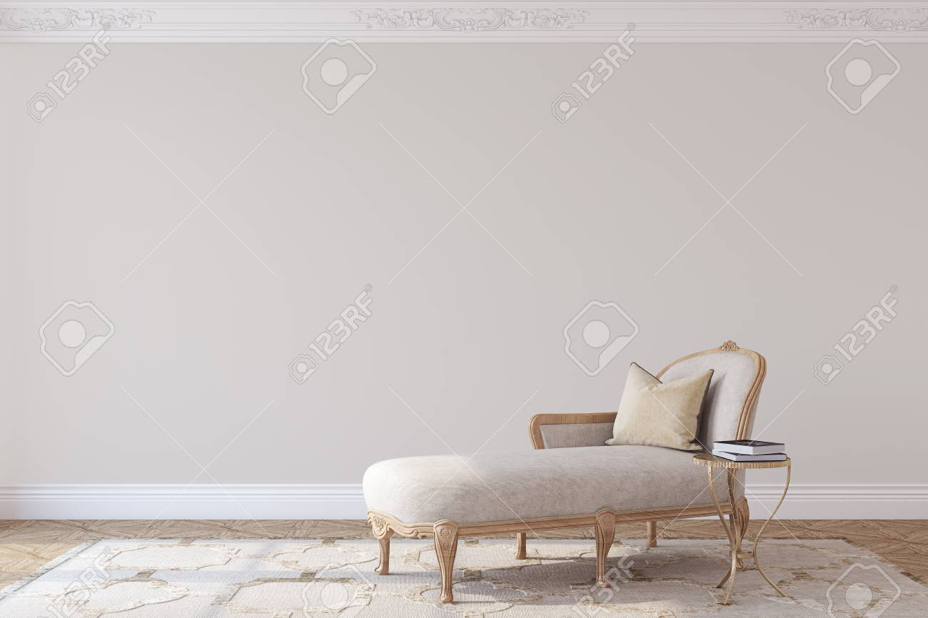 Living-room interior in french style. Mockup. 3d render. - 120568891