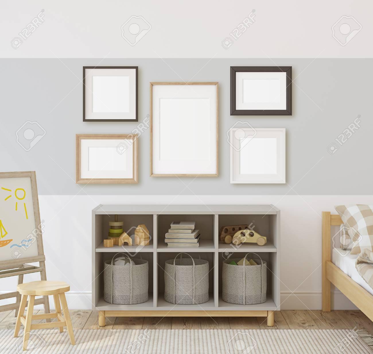 Toddler room. Interior and frame mock-up. 3d render. - 120568890