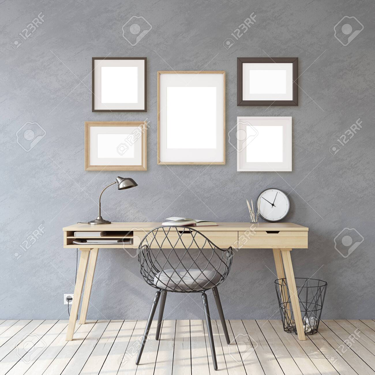 Home office. Interior and frame mockup. Wooden desk near gray wall. Different types of frames on the gray wall. 3d render. - 121679392