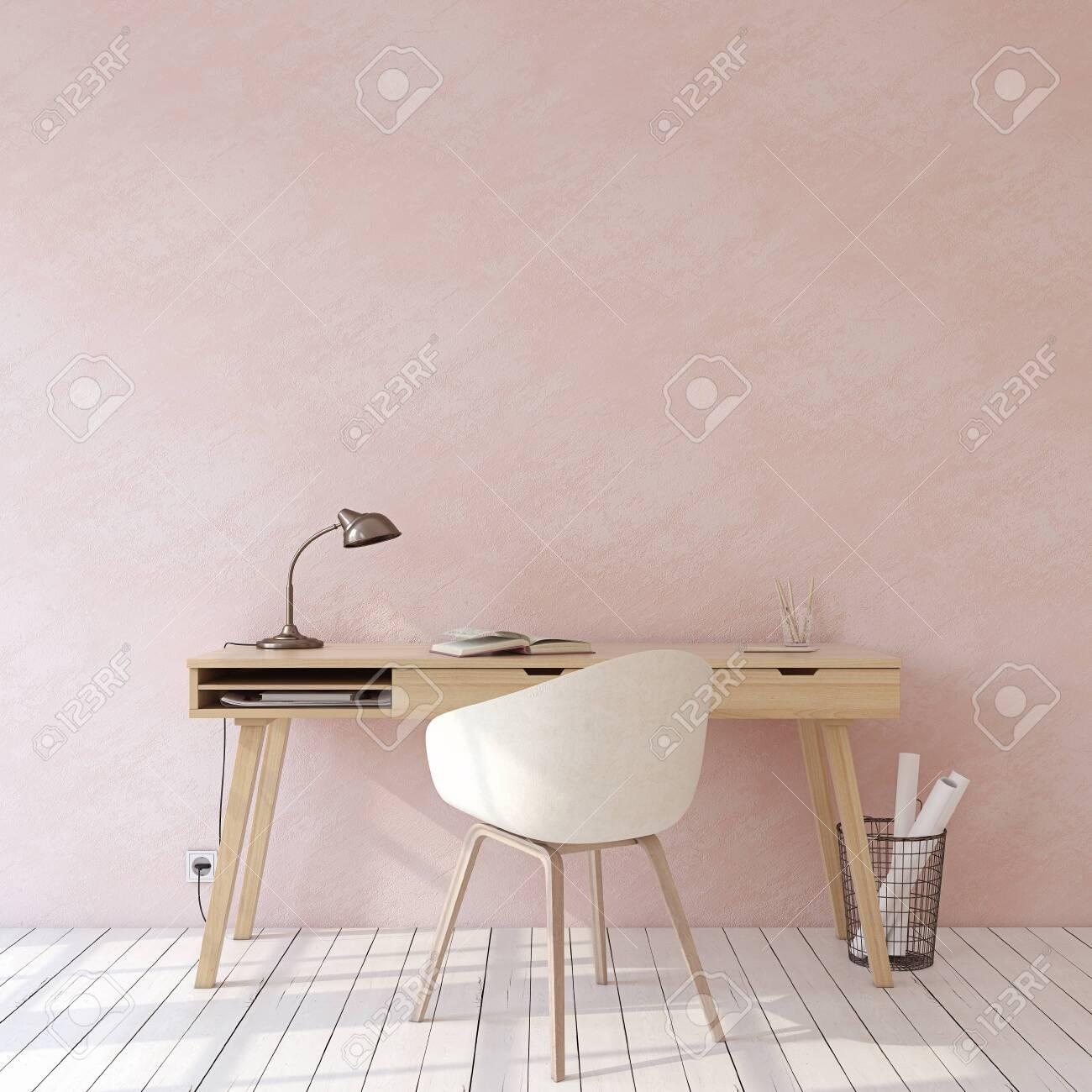 Home office. Interior mockup. Wooden desk near empty pink wall. 3d render. - 121679403