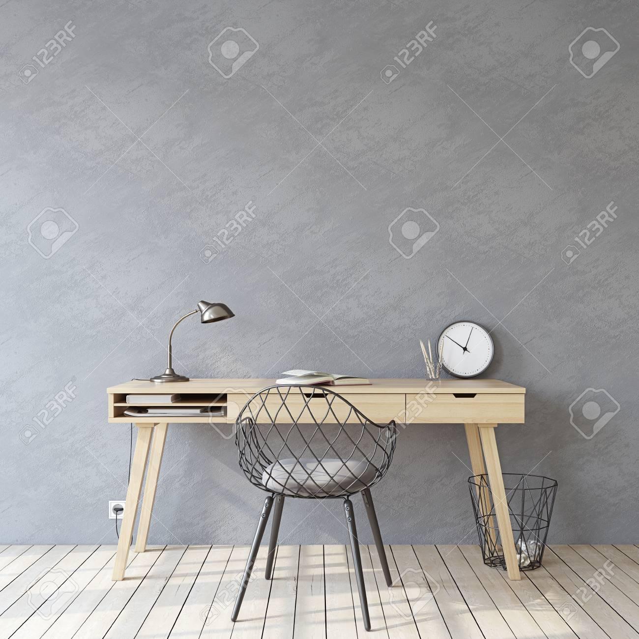 Home office. Interior mockup. Wooden desk near empty gray wall. 3d render. - 121679406