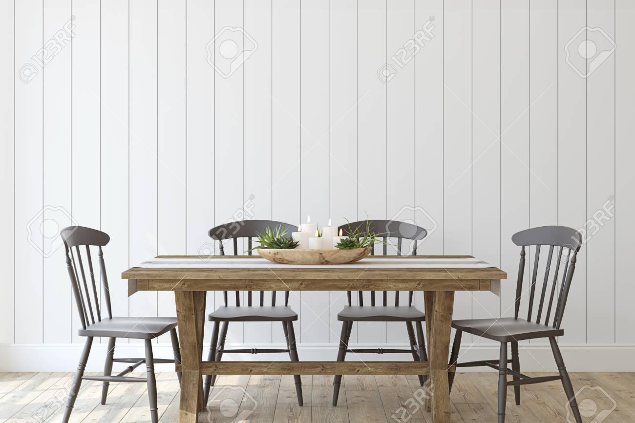 Modern farmhouse dining-room. Interior mockup. 3d render.