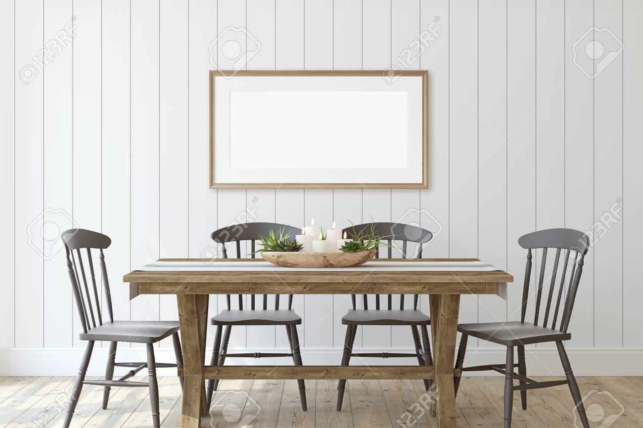 Modern farmhouse dining-room. Frame mockup. Wooden frame on the shiplap wall. 3d render. - 126219668