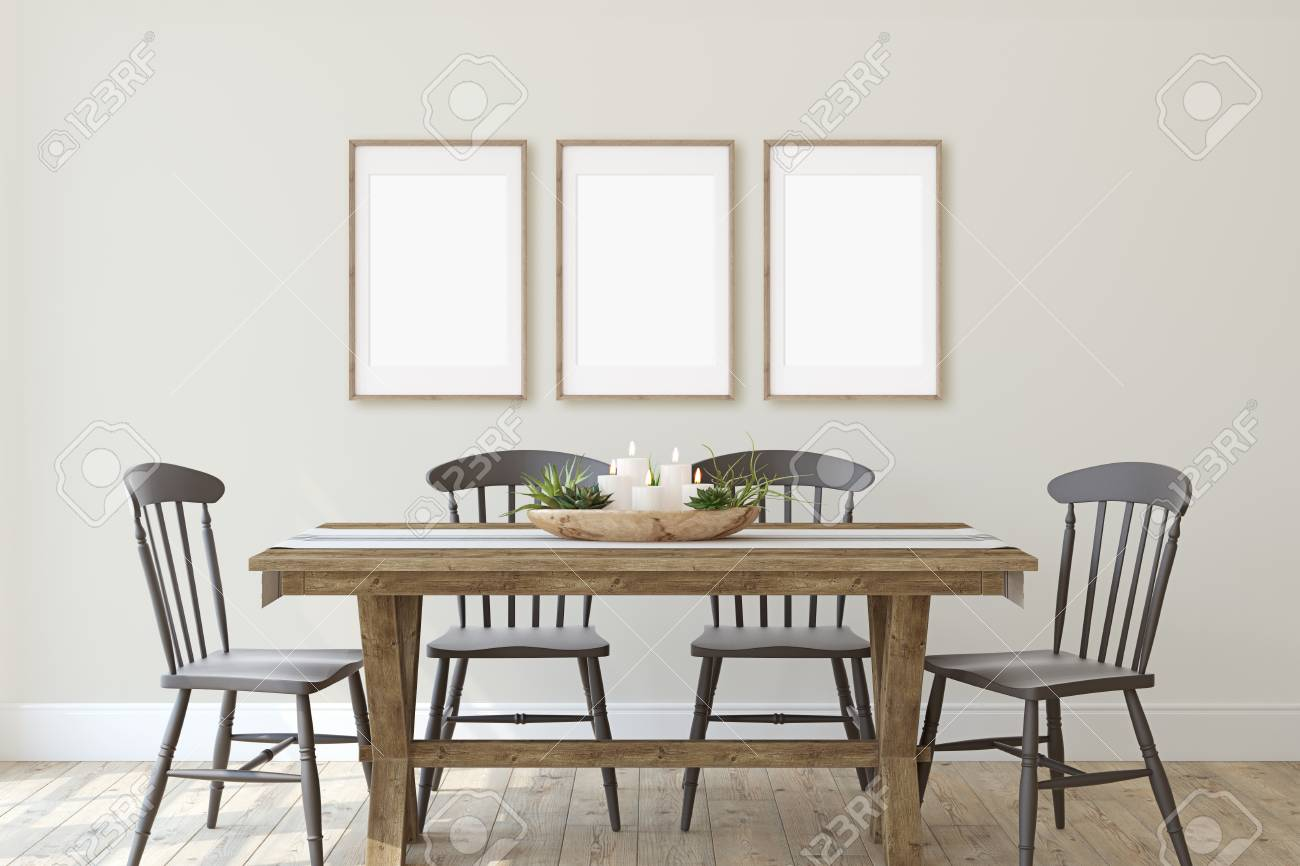 Modern farmhouse dining-room. Frame mockup. Three wooden frames on the wall. 3d render. - 126219672