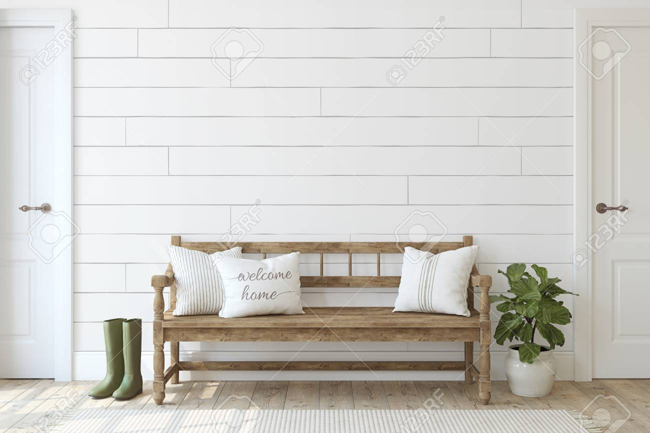 Farmhouse entryway. Wooden bench near white shiplap wall. Interior mockup. 3d render. - 126219681