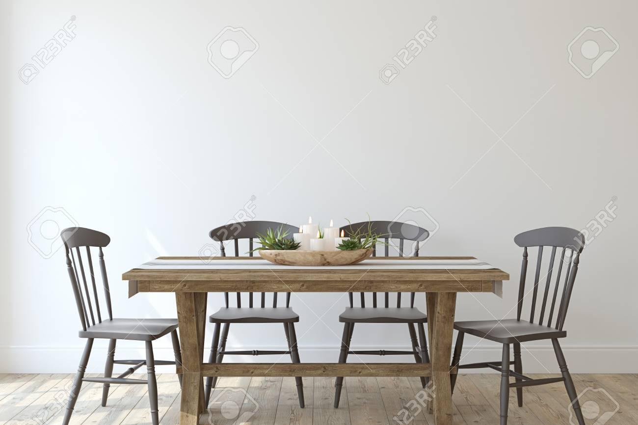 Modern farmhouse dining-room. Interior mockup. 3d render. - 126219686