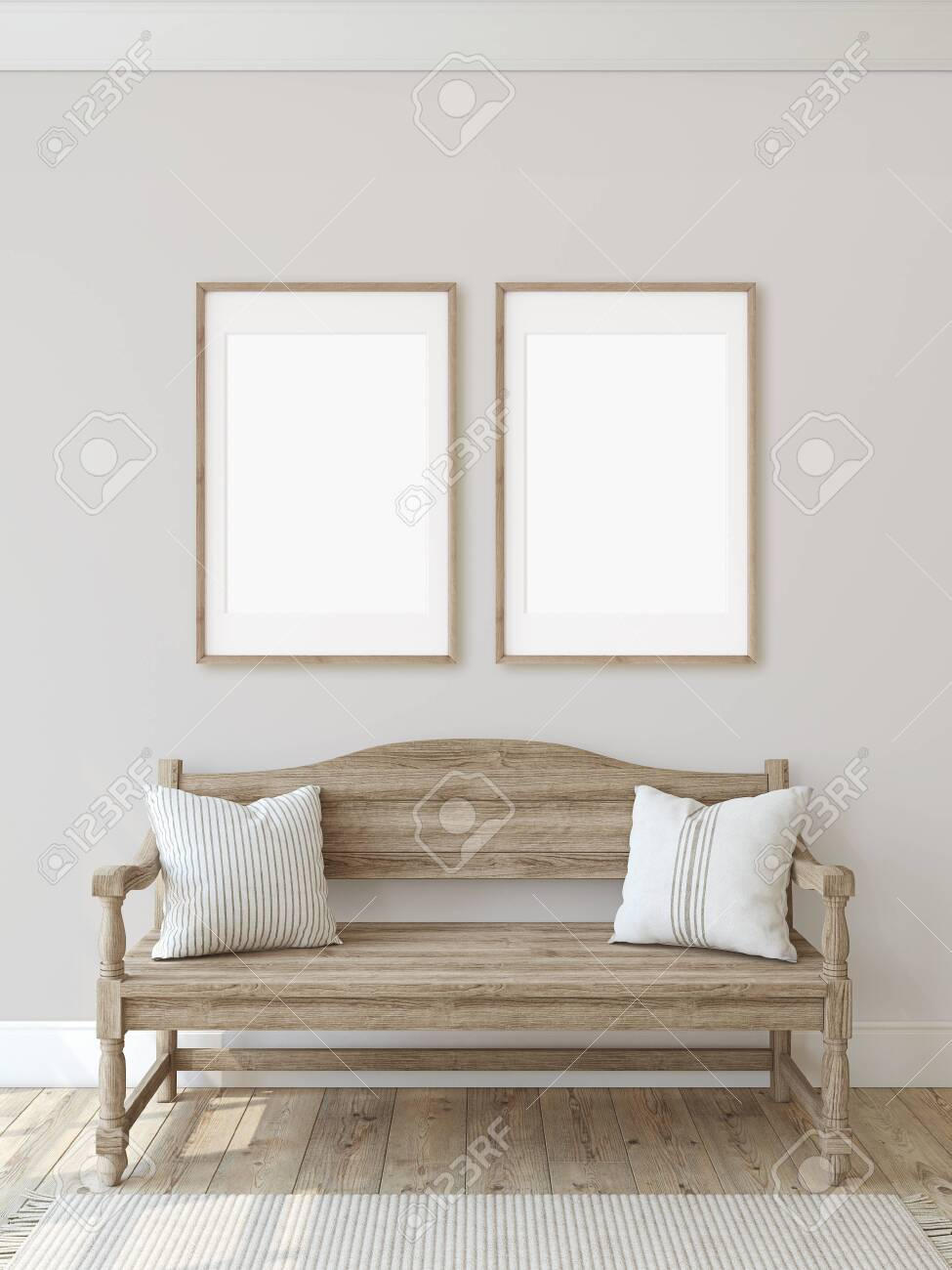 Farmhouse entryway. Wooden bench near beige wall. Frame mockup. Two vertical wooden frames on the wall. 3d render. - 128722494