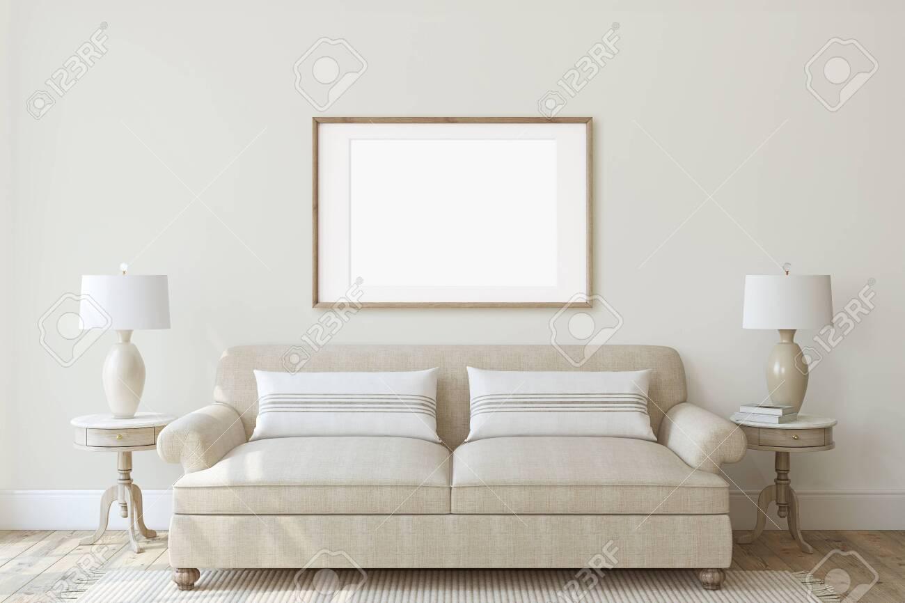 Modern living-room interior in neutral colors. Frame mockup. Interior mockup. 3d render. - 128722495