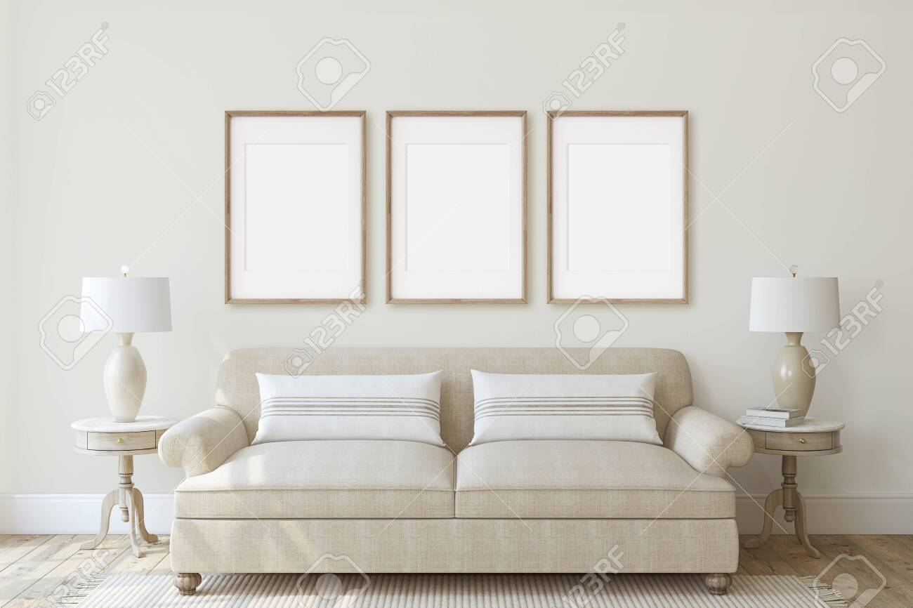 Modern living-room interior in neutral colors. Frame mockup. Interior mockup. Three vertical wooden frames on the wall. 3d render. - 128722496