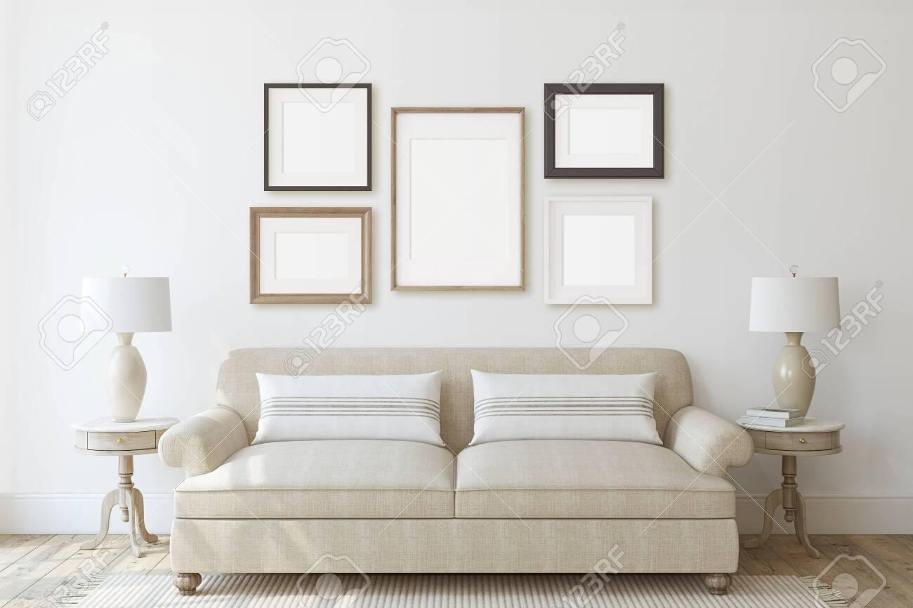Modern living-room interior in neutral colors. Frame mockup. Interior mockup. 3d render. - 128722497