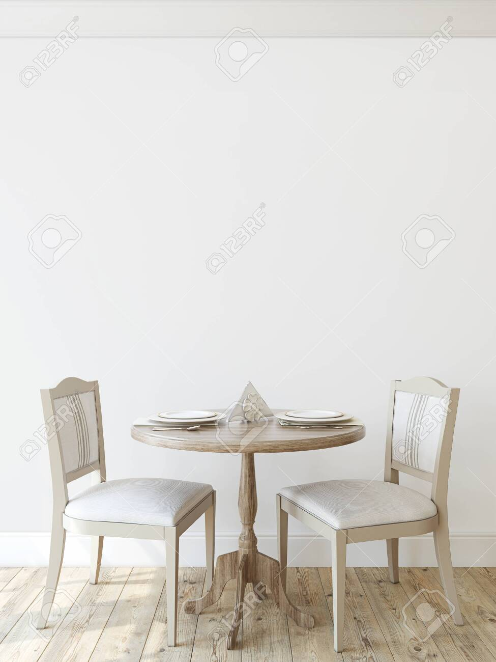 Modern dining-room. Interior mockup. Round table with two chairs near empty wall. 3d render. - 128722500