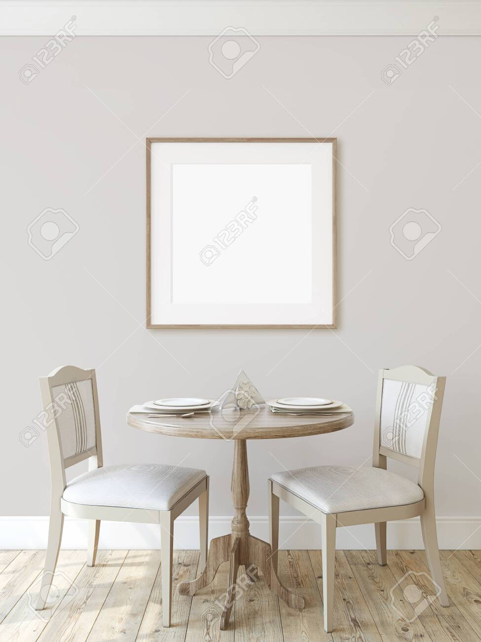 Modern dining-room. Interior mockup. Round table with two chairs near wall. Frame mockup. Square wooden frame on the wall. 3d render. - 128722498