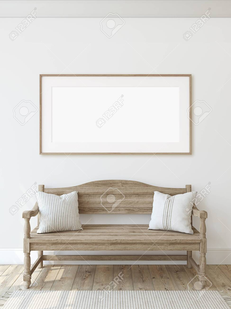 Farmhouse entryway. Wooden bench near white wall. Frame mockup. Wooden frame on the wall. 3d render. - 128722507
