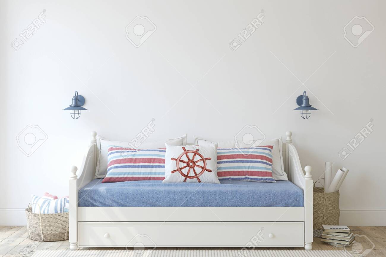 Kids room in coastal style. Daybed near empty white wall. Interior mockup. 3d render. - 128722515
