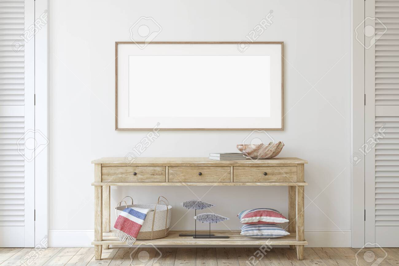 Interior in coastal style. Console table near wall. Interior and frame mockup. 3d render. - 128722522