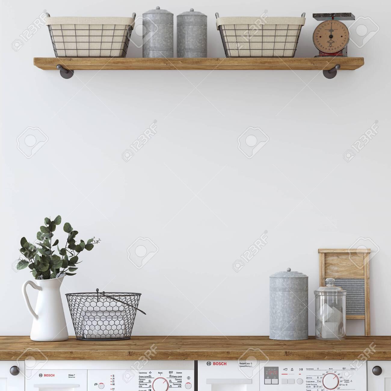 Modern farmhouse laundry. Interior mockup. 3d render. - 141699007