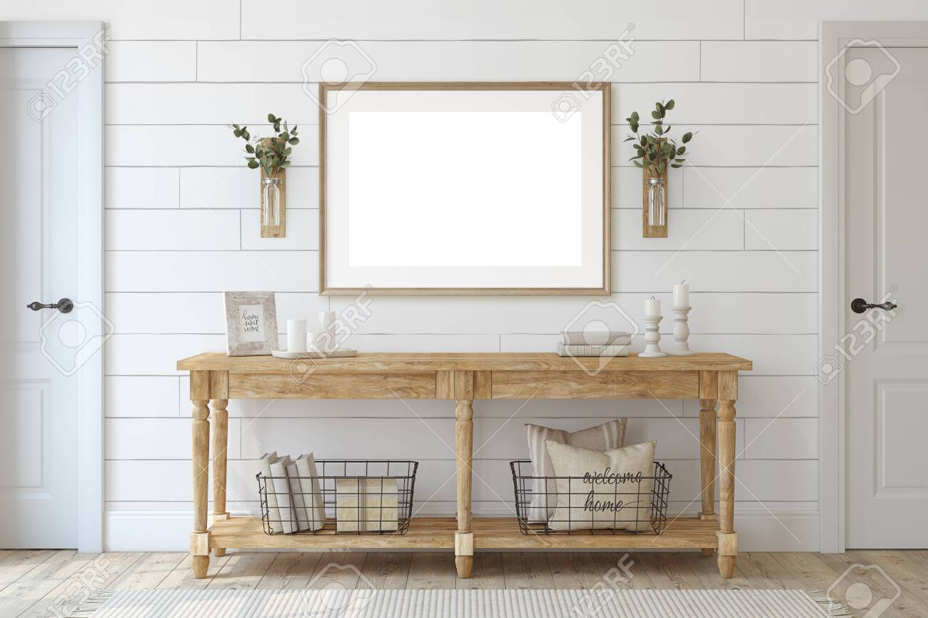 Farmhouse entryway. Wooden console table near white wall. Frame mockup. 3d render. - 141699075