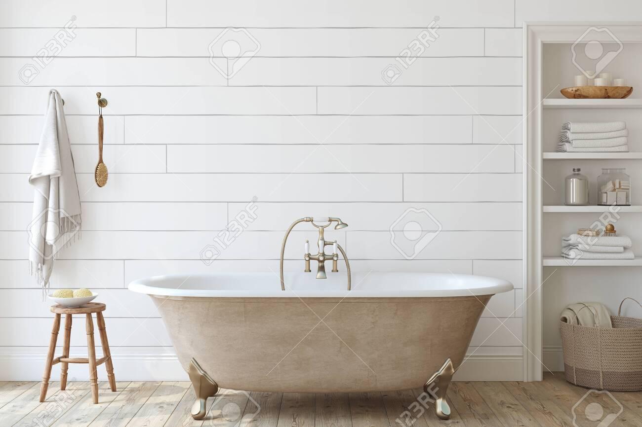 Farmhouse bathroom with shiplap wall . Interior mockup. 3d render. - 141699499