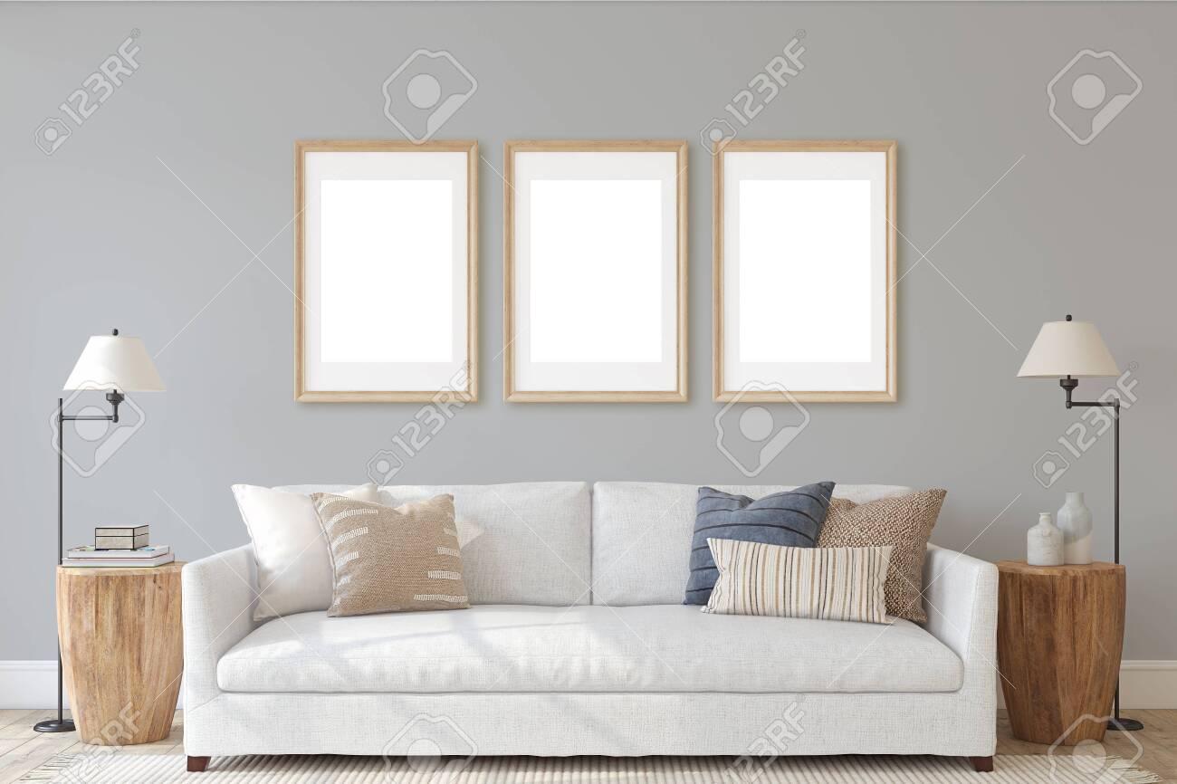 Modern living-room interior in coastal style. Interior and frame mockup. 3d render. - 143046086