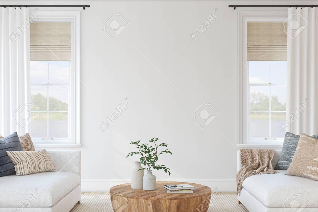 Modern living-room interior. Interior mockup. 3d render. - 143536630