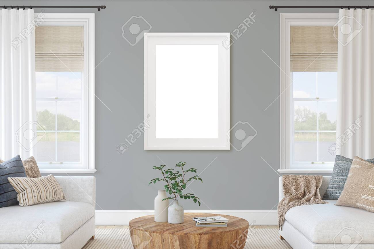 Modern living-room interior with white furniture and gray wall. Interior and frame mockup. 3d render. - 143045987