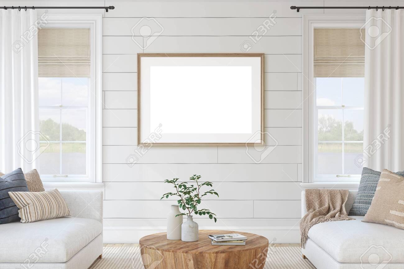 Modern living-room interior in coastal style. Interior and frame mockup. 3d render. - 143536633