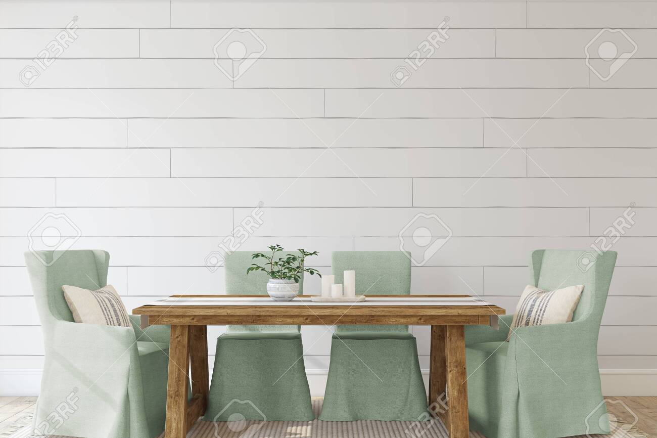 Modern dining-room with the shiplap wall. Interior mockup. 3d render. - 143045966