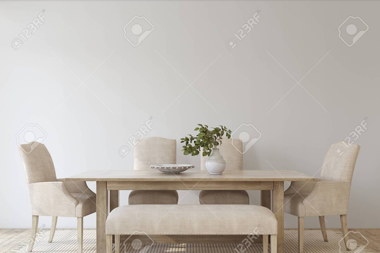 Modern dining room. Interior mockup. 3d render. - 144428717