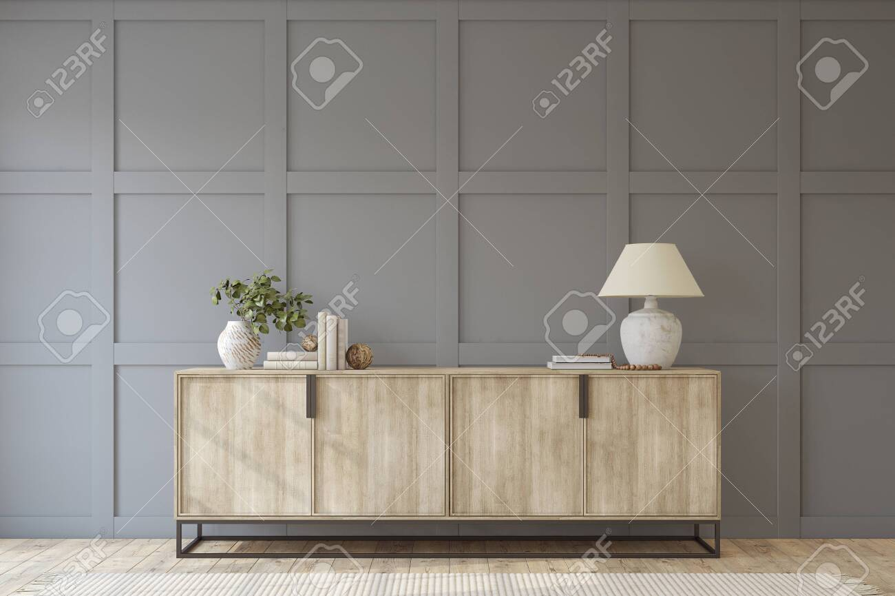Modern entryway. Sideboard near empty gray panel wall. Interior mockup. 3d render. - 144428644