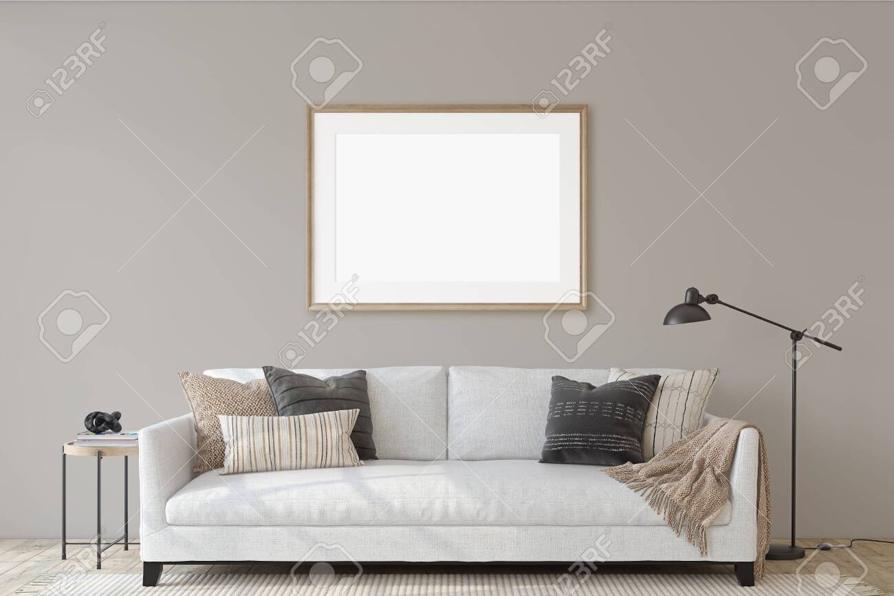 Modern living room interior with the white couch. Interior and frame mockup. 3d render. - 144428712