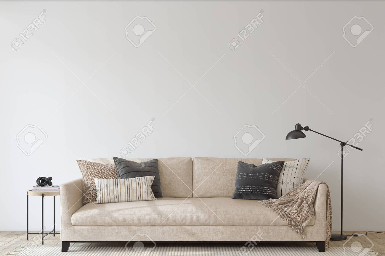 Modern living room interior. Interior mockup. The beige couch near empty white wall. 3d render. - 144428713